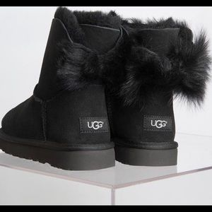 Black UGGs with mini fluff bow